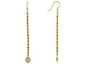 White Cubic Zirconia 18K Yellow Gold Over Sterling Silver Drop Earrings 0.34ctw