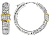 White Cubic Zirconia Rhodium Over Sterling Silver Hoop Earrings 1.04ctw