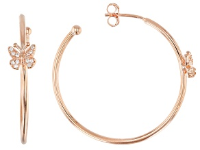 White Cubic Zirconia 18k Rose Gold Over Sterling Silver Butterfly Hoop Earrings 0.43ctw