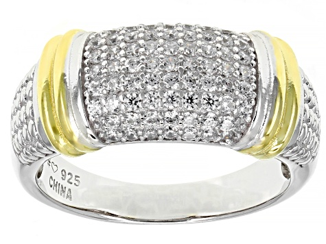 White Cubic Zirconia Rhodium Over Sterling Silver Band Ring 0.80ctw