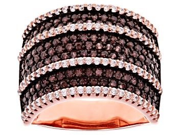 Picture of Brown And White Cubic Zirconia 18k Rose Gold Over Sterling Silver Ring 2.96ctw