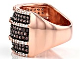 Brown And White Cubic Zirconia 18k Rose Gold Over Sterling Silver Ring 2.96ctw