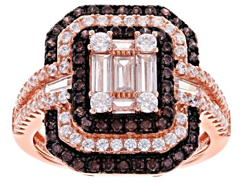 Picture of Brown And White Cubic Zirconia 18K Rose Gold Over Sterling Silver Ring 2.71ctw