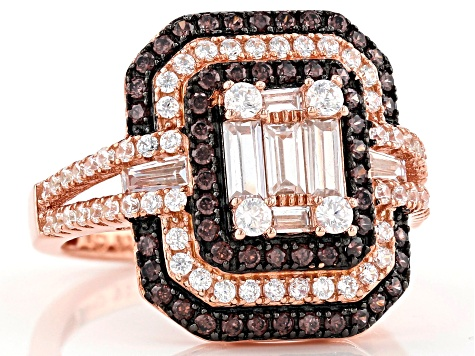 Brown And White Cubic Zirconia 18K Rose Gold Over Sterling Silver Ring 2.71ctw