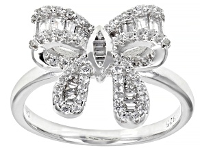 White Cubic Zirconia Rhodium Over Sterling Silver Bow Ring 0.93ctw
