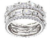 White Cubic Zirconia Rhodium Over Sterling Silver Band Rings Set of Four 8.74ctw