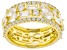 White Cubic Zirconia 18K Yellow Gold Over Sterling Silver Band Rings Set of Four 7.73tw
