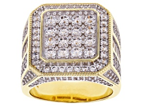 White Cubic Zirconia 18K Yellow Gold Over Sterling Silver Ring 5.66ctw