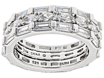 Picture of White Cubic Zirconia Rhodium Over Sterling Silver Band Ring Set of 3 9.06ctw