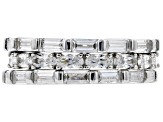 White Cubic Zirconia Rhodium Over Sterling Silver Band Ring Set of 3 9.06ctw