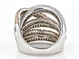 White Cubic Zirconia Rhodium Over Sterling Silver With 14K Rose Gold Accents Ring 4.95ctw