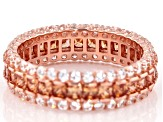 Champagne And White Cubic Zirconia 18k Rose Gold Over Sterling Silver Band Ring 4.68ctw