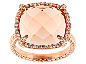 Morganite Simulant And White Cubic Zirconia 18k Rose Gold Over Sterling Silver Ring 17.34ctw
