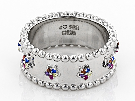 Multi-Color Cubic Zirconia, Lab Created Blue Spinel & Red Corundum Rhodium Over Silver Ring 0.40ctw
