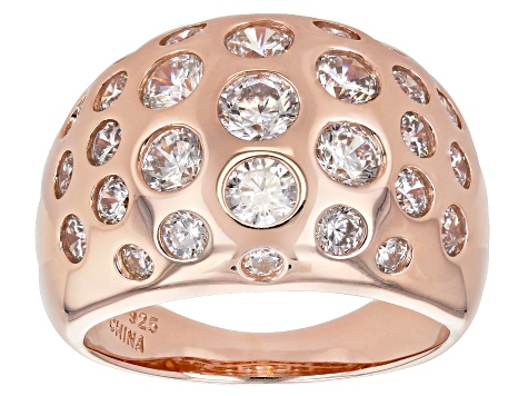 White Cubic Zirconia 18k Rose Gold Over Sterling Silver Dome Ring 3.93ctw