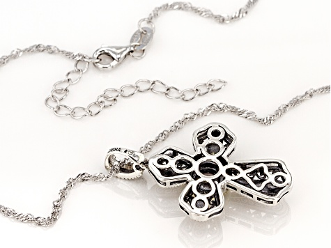 White Cubic Zirconia Rhodium Over Sterling Silver Cross Pendant With Chain 0.84ctw