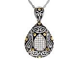 White Cubic Zirconia Rhodium Over Sterling Silver Pendant With Chain 0.32ctw