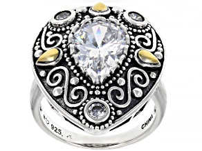 White Cubic Zirconia Rhodium Over Sterling Silver Ring 5.24ctw