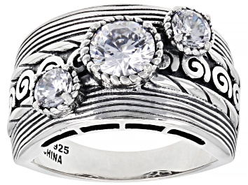 Picture of White Cubic Zirconia Rhodium Over Sterling Silver Ring 2.18ctw