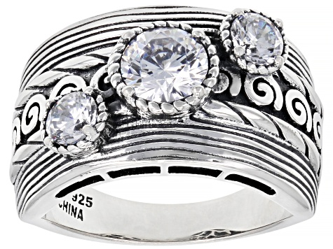 White Cubic Zirconia Rhodium Over Sterling Silver Ring 2.18ctw