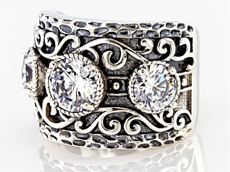 White Cubic Zirconia Rhodium Over Sterling Silver Ring 4.78ctw