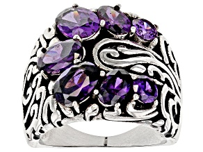 Purple Cubic Zirconia Rhodium Over Sterling Silver Ring 5.91ctw