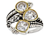 White Cubic Zirconia Rhodium Over Sterling Silver Ring 5.37ctw