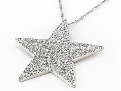 White Cubic Zirconia Rhodium Over Sterling Silver Star Pendant With Chain 5.15ctw
