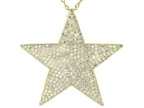 White Cubic Zirconia 18K Yellow Gold Over Sterling Silver Star Pendant With Chain 5.15ctw