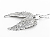 White Cubic Zirconia Rhodium Over Sterling Silver Angel Wing Pendant With Chain 8.15ctw