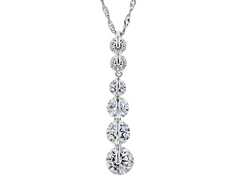 White Cubic Zirconia Rhodium Over Sterling Silver Pendant With Chain 6.35ctw