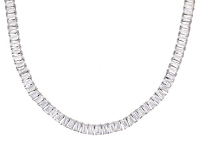 White Cubic Zirconia Rhodium Over Sterling Silver Tennis Necklace 64.13ctw