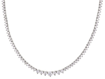 Picture of White Cubic Zirconia Rhodium Over Sterling Silver Tennis Necklace 12.72ctw