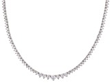 White Cubic Zirconia Rhodium Over Sterling Silver Tennis Necklace 12.72ctw