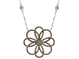 Champagne And White Cubic Zirconia Rhodium Over Silver Flower Necklace 3.15ctw