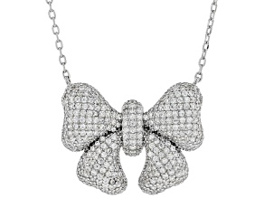 White Cubic Zirconia Rhodium Over Sterling Silver Bow Necklace 3.25ctw