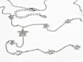 White Cubic Zirconia Rhodium Over Sterling Silver Star Y Necklace 1.23ctw