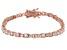White Cubic Zirconia 18K Rose Gold Over Sterling Silver Tennis Bracelet 5.70ctw