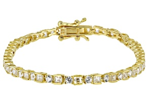 White Cubic Zirconia 18K Yellow Gold Over Sterling Silver Tennis Bracelet 5.70ctw