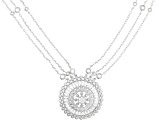 White Cubic Zirconia Rhodium Over Sterling Silver Station Necklace 4.63ctw