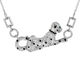Green, White, And Black Cubic Zirconia Rhodium Over Sterling Silver Panther Necklace 3.07ctw