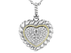 White Cubic Zirconia Rhodium Over Sterling Silver Heart Pendant With Chain 0.77ctw