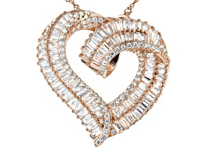White Cubic Zirconia 18K Rose Gold Over Sterling Silver Heart Pendant With Chain 5.48ctw