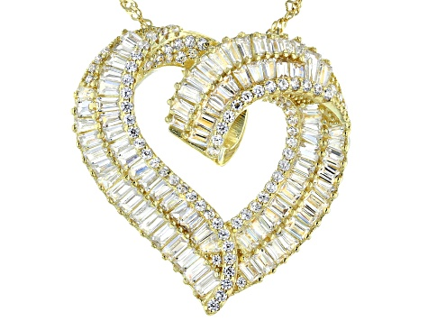 White Cubic Zirconia 18K Yellow Gold Over Sterling Silver Heart Pendant With Chain 5.48ctw