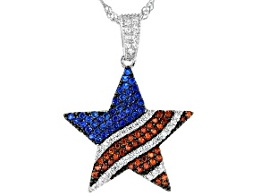 Red, White, And Blue Cubic Zirconia Rhodium Over Sterling Silver Flag Pendant With Chain 1.19ctw