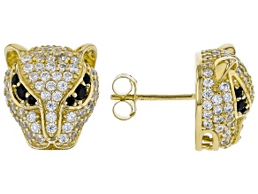 Black And White Cubic Zirconia 18K Yellow Gold Over Sterling Silver Panther Earrings 2.69ctw