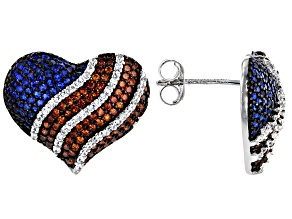 Red, White, And Blue Cubic Zirconia Rhodium Over Sterling Silver Heart Flag Earrings 3.13ctw