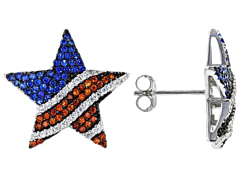 Red, White, And Blue Cubic Zirconia Rhodium Over Sterling Silver Star Flag Earrings 1.82ctw