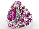 Pink And White Cubic Zirconia Rhodium Over Sterling Silver Ring 15.82ctw