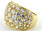 White Cubic Zirconia 18K Yellow Gold Over Sterling Silver Ring 8.09ctw